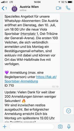 Exklusive Einladung für FK Austria Wien WhatsApp-Newsletter-Abbonenten