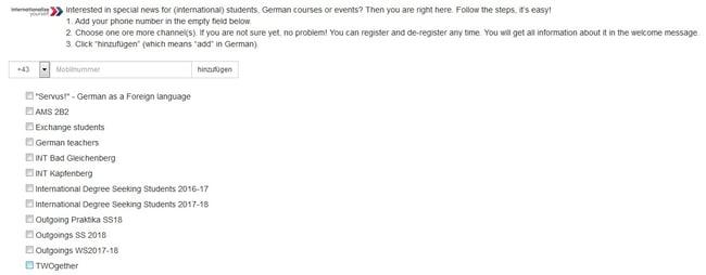 Anmeldewidget Fh Johanneum, schnelles Einbinden von Auslandsstudenten