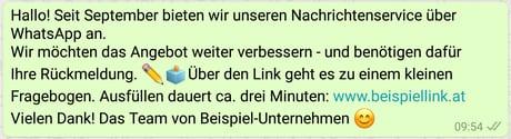 WhatsApp Newsletter mit Feedback richtig machen