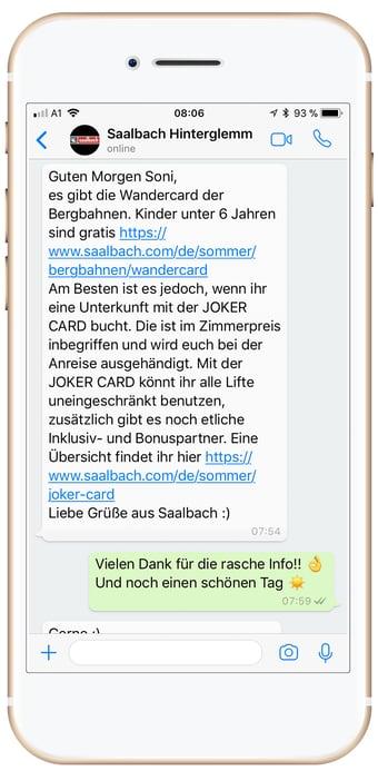 Customer Service per Social Media bei Saalbach Hinterglemm