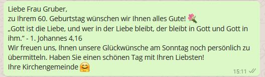 WhatsApp für Kirchen Geburtstagswünsche