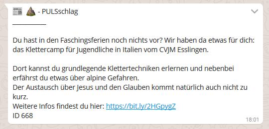 WhatsApp für Kirchen Das evangelische Jugendwerk in Württemberg lädt zu einem Klettercamp ein.