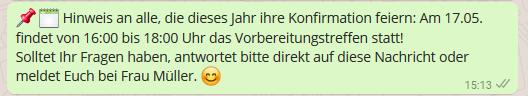 WhatsApp für Kirchen Terminerinnerungen