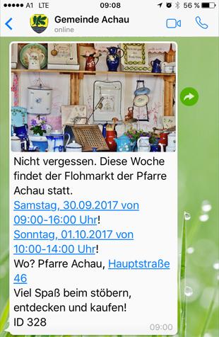 WhatsApp Gemeinda Achau Einladung