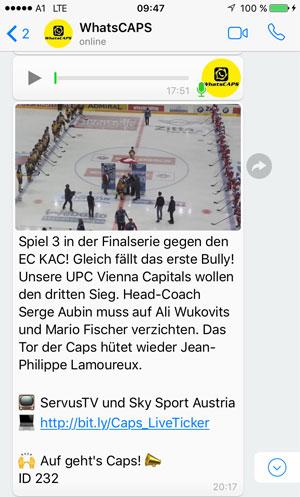 WhatsCAPS, der WhatsApp-Service der Vienna Capitals