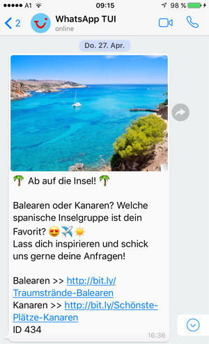 TUI Österreich auf WhatsApp - powered by WhatsATool