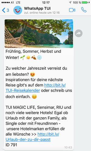 TUI informiert auf WhatsApp über Angebote