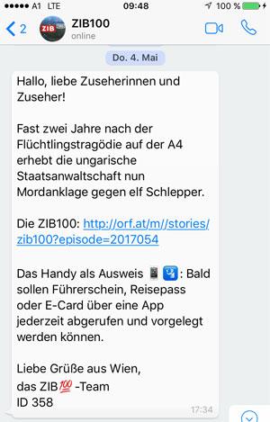 Die ZIB 100 informiert täglich auf WhatsApp - powered by WhatsATool