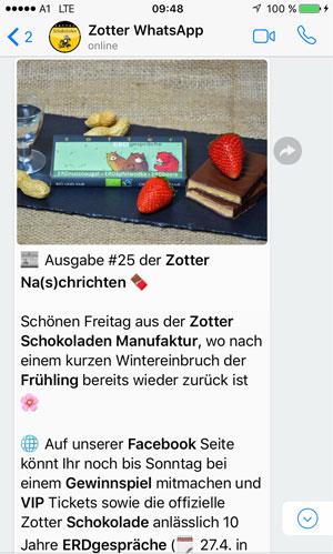 WhatsApp-Newsletter Beispiel