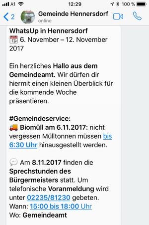 Richtiges Formatieren von WhatsApp Newslettern Beispiel Gemeinde Hennersdorf