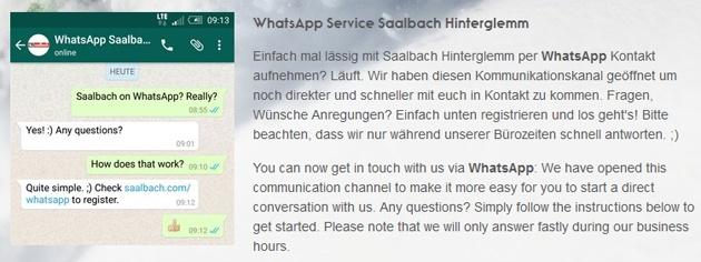 Infoseite der Tourismusregion Saalbach Hinterglemm zum neuen WhatsApp-Service