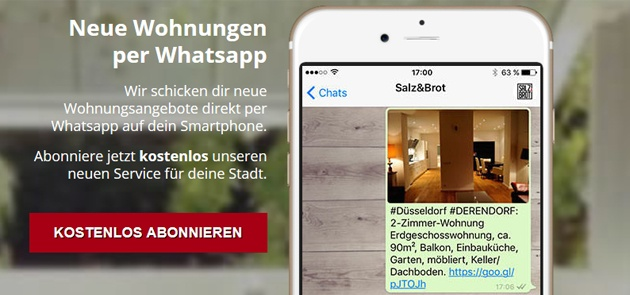 Salz&Brot Wohnungsangebote per WhatsApp