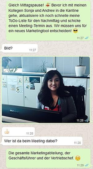 Über WhatsApp Einblicke in den Berufsalltag geben