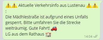 Verkehrsinfo und Sicherheitshinweise per WhatsApp